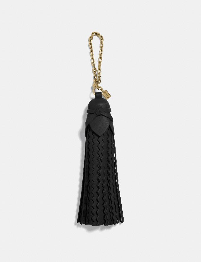 Coach Tassel Bag Charm Light Gold/Black Women Accessories Bag Accessories & Keyholders