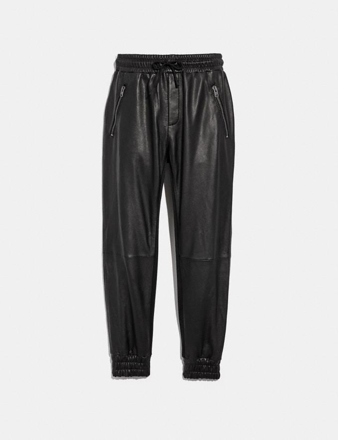 Coach Leather Track Pants Black