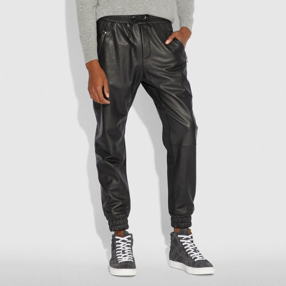Coach Leather Track Pant Alternate View 1