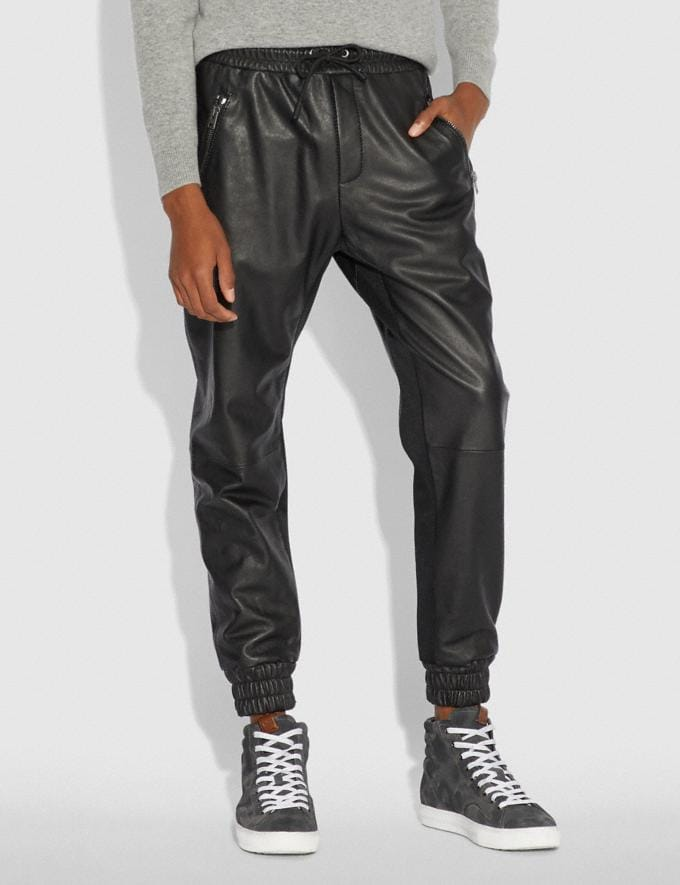 Coach Leather Track Pants Black  Alternate View 1