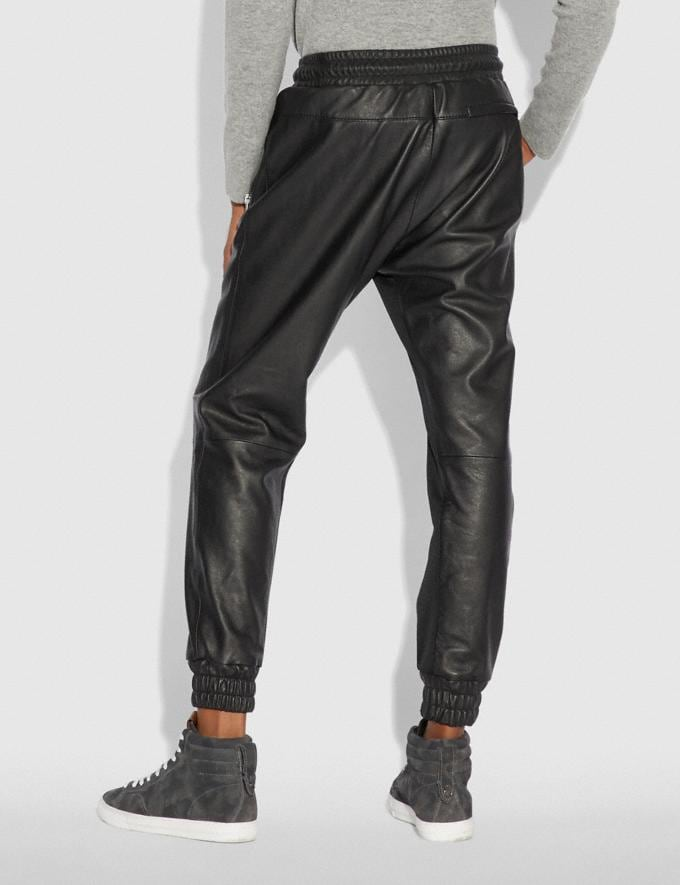 Coach Leather Track Pants Black  Alternate View 2