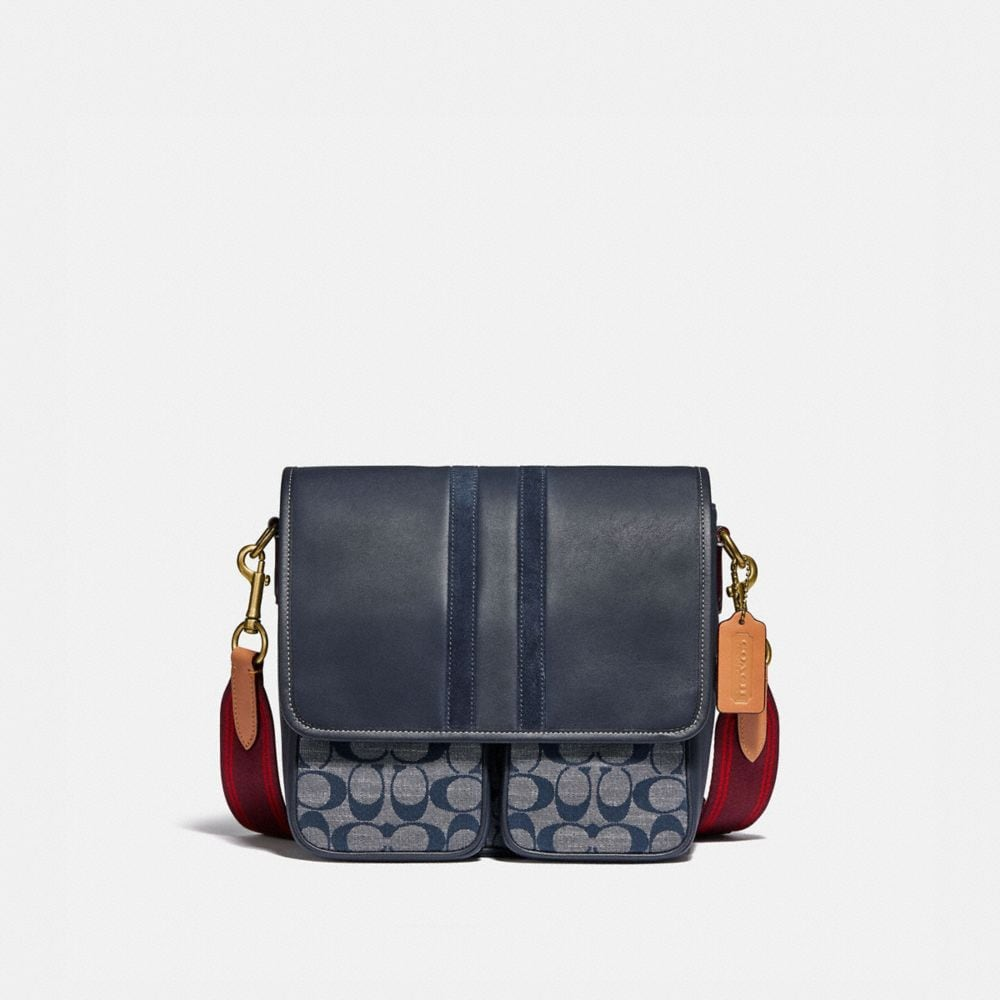 Map Bag In Signature Chambray With Varsity Stripe