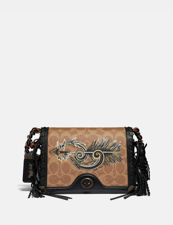 Coach Dinky 19 in Signature Canvas With Tattoo Tan Black/Black Copper Women Bags Crossbody Bags
