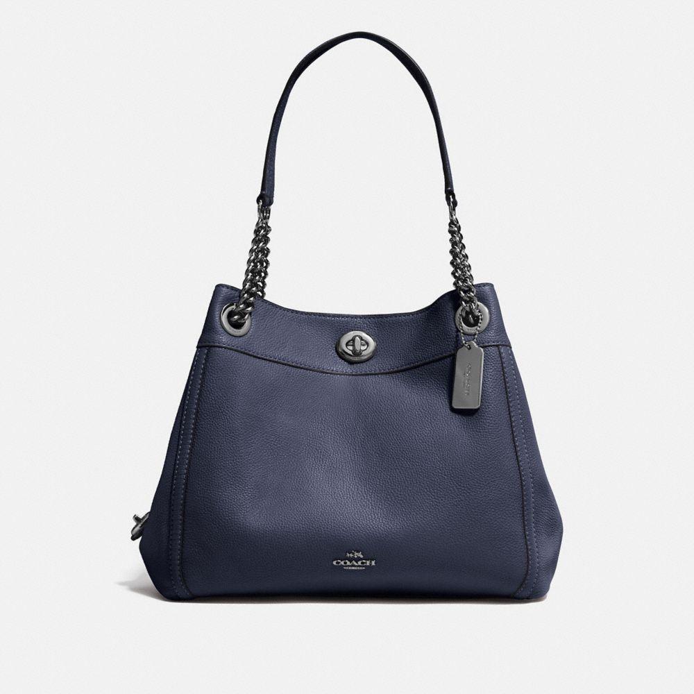 Turnlock Edie Shoulder Bag in Pebble Leather