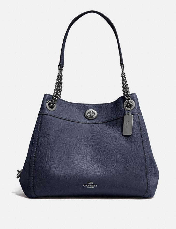 Coach Turnlock Edie Shoulder Bag Navy/Dark Gunmetal New Featured Women New Top Picks