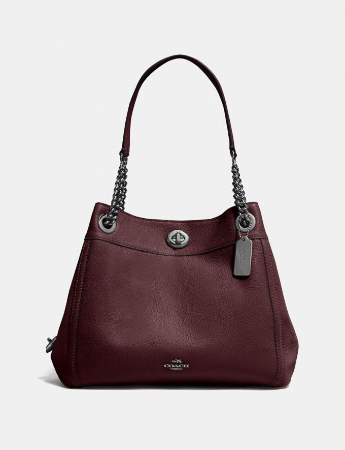 Coach Turnlock Edie Shoulder Bag Oxblood/Dark Gunmetal Women Bags View All