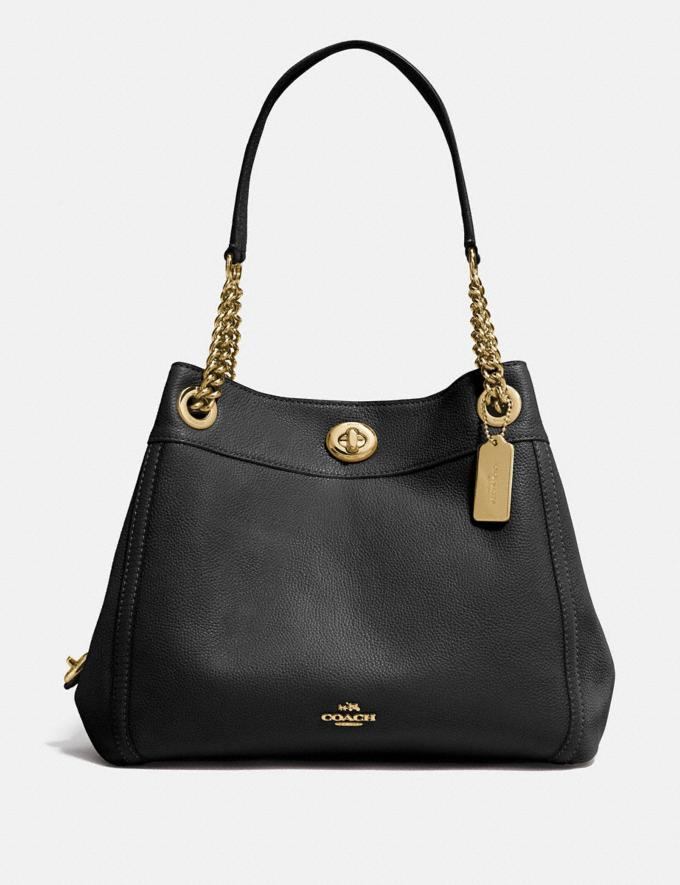 Coach Turnlock Edie Shoulder Bag Black/Light Gold SALE Women's Sale Bags