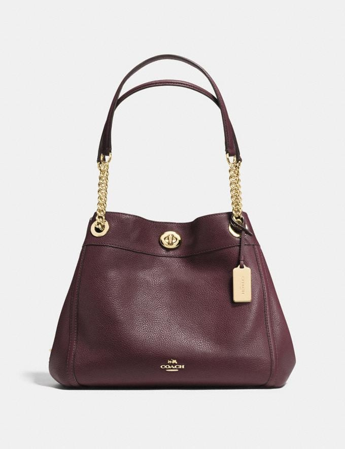 Coach Turnlock Edie Shoulder Bag Light Gold/Oxblood New Featured Bestsellers