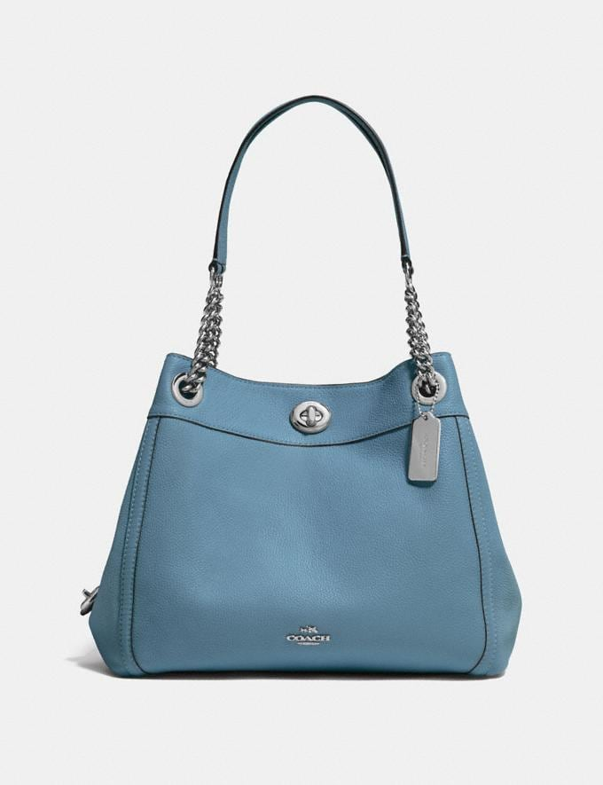 Coach Turnlock Edie Shoulder Bag Blossom/Silver Gifts For Her Bestsellers