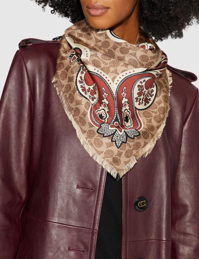 Coach Signature Bold Bandana Silk Square Copper SALE Women's Sale Accessories Alternate View 1