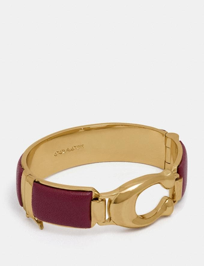 Coach Wrapped Sculpted Signature Bangle Scarlet/Gold Women Accessories Jewellery Bracelets