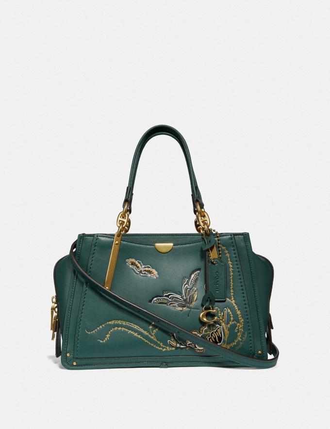Coach Dreamer With Tattoo Evergreen/Brass Women Bags Satchels & Carryalls