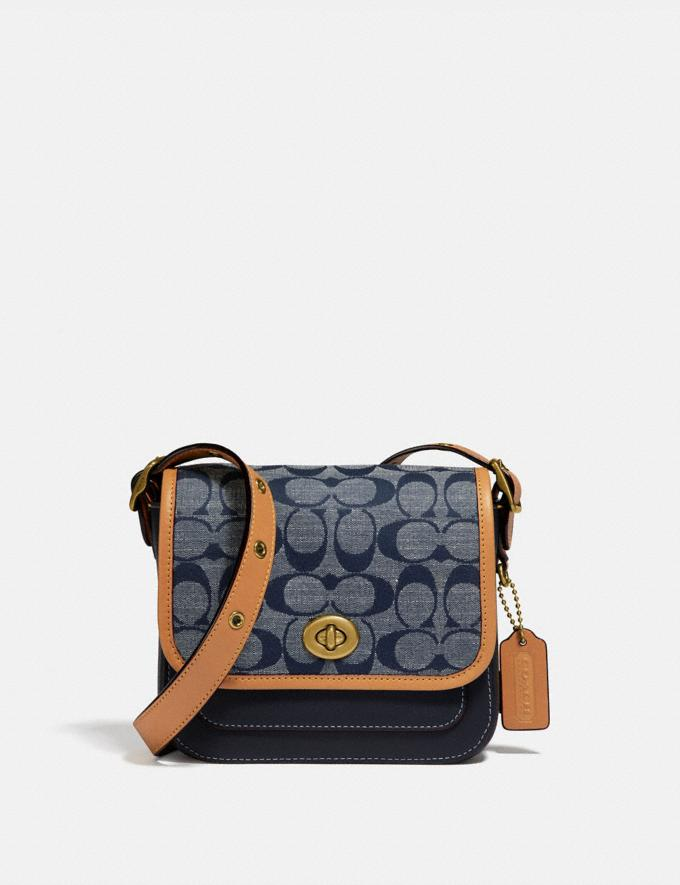 Coach Rambler Crossbody 16 in Signature Chambray B4/Chambray Midnight Navy Mlti Women Bags Signature Bags