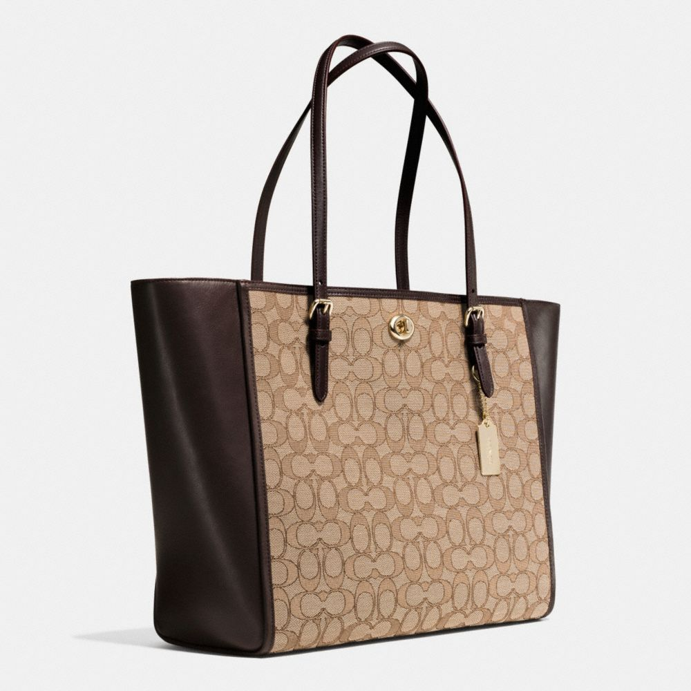 Coach Turnlock Tote in Signature Jacquard Alternate View 2