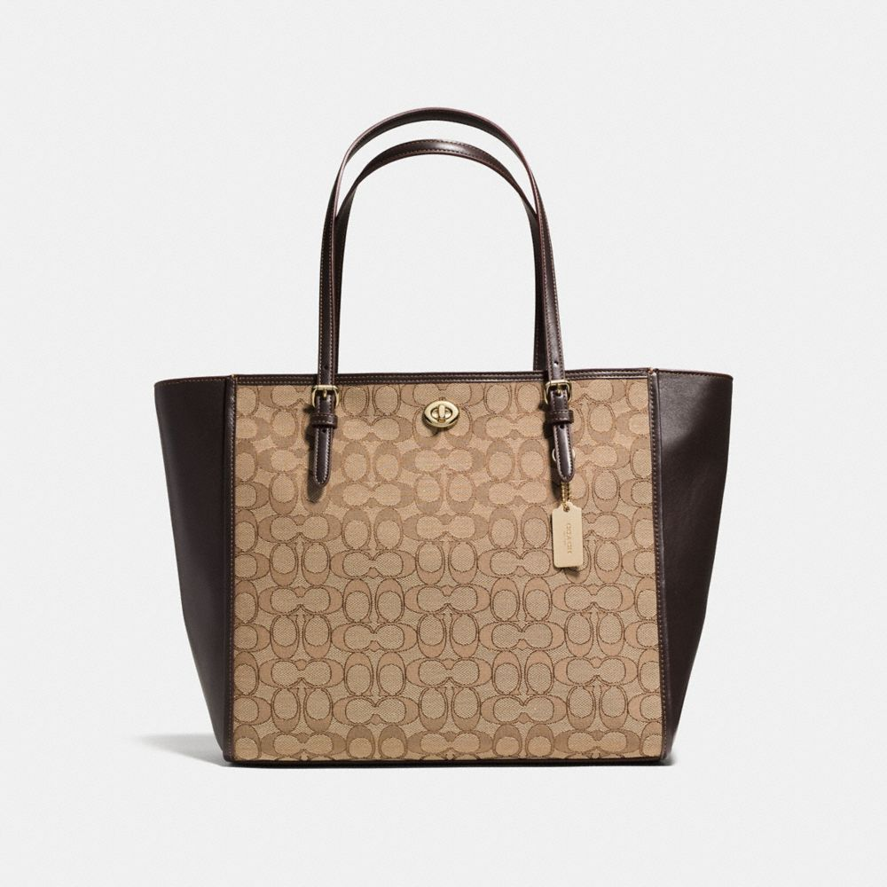Coach Turnlock Tote in Signature Jacquard