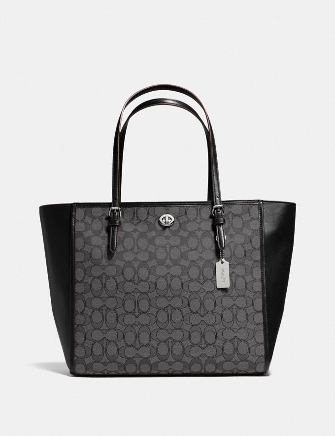Coach Turnlock Tote in Signature Jacquard Black Smoke/Black/Silver Women Bags Totes