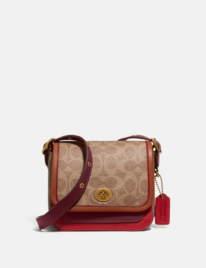 Coach Rambler Crossbody 16 in Signature Canvas Brass/Tan Light Maroon Multi Damen Taschen Umhängetaschen