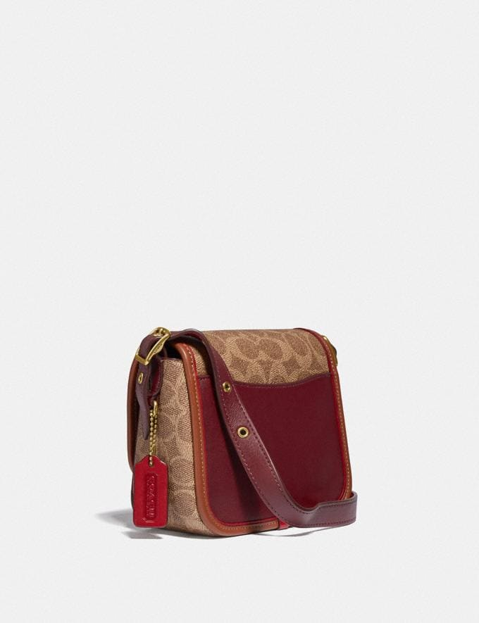 Coach Rambler Crossbody 16 in Signature Canvas Brass/Tan Light Maroon Multi Damen Taschen Umhängetaschen Alternative Ansicht 1