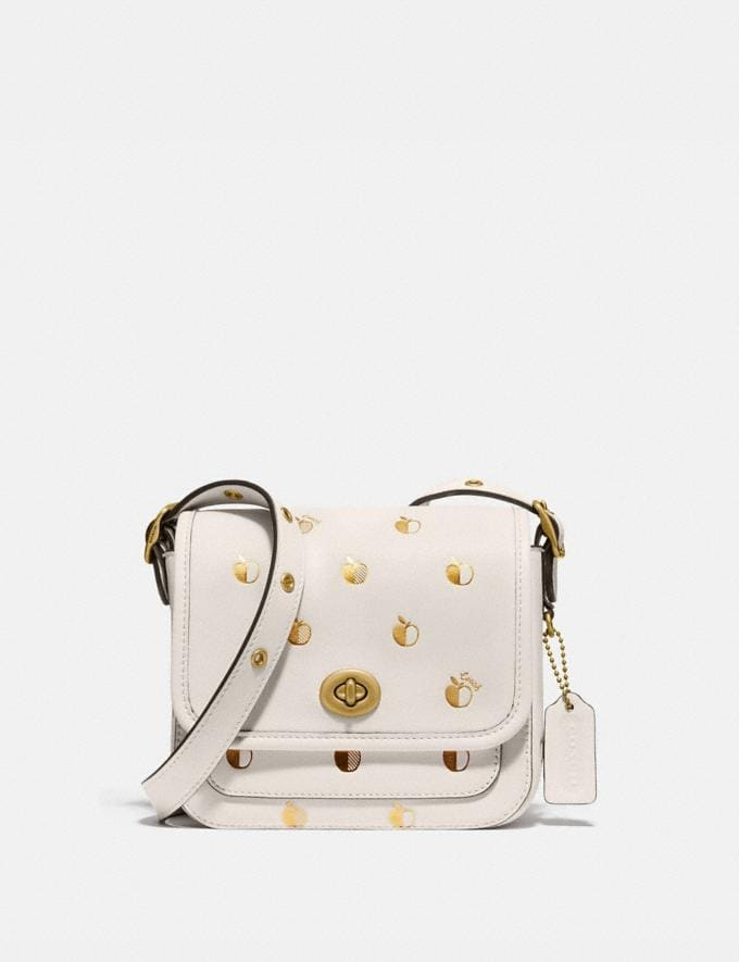 Coach Rambler Crossbody 16 With Apple Print Brass/Chalk New Women's New Arrivals Collection