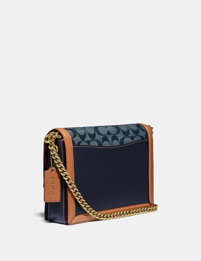 Coach Hutton Shoulder Bag in Signature Chambray Brass/Chambray Midnight Navy Mlti Women Bags Shoulder Bags Alternate View 1