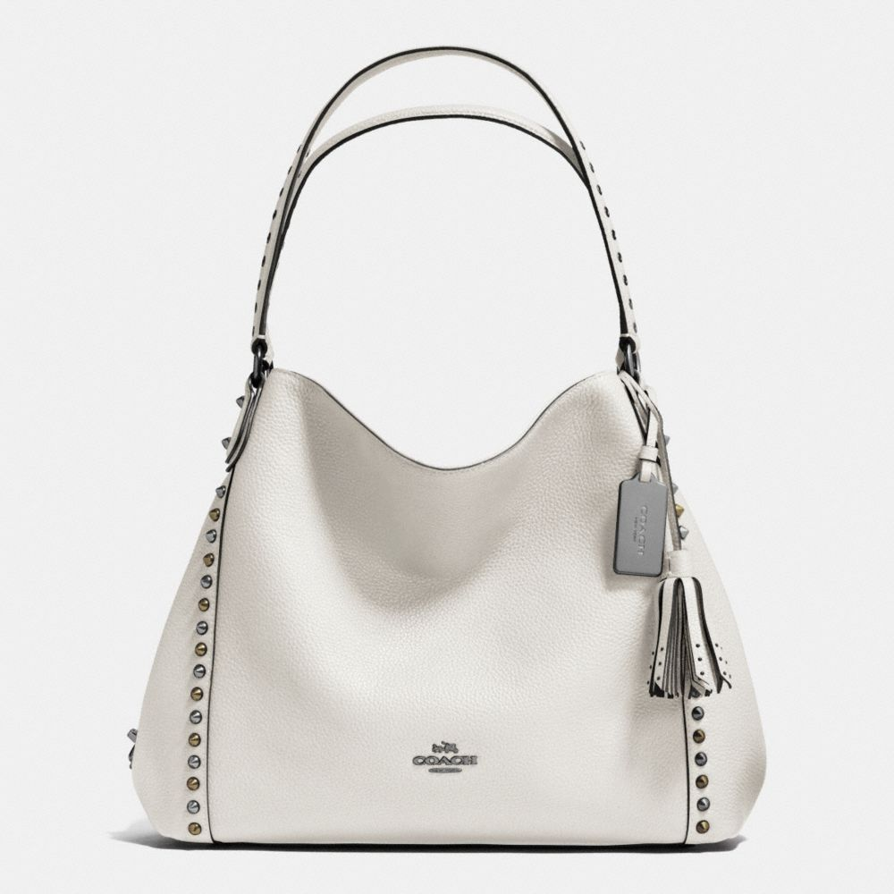 OUTLINE STUDS AND GROMMETS EDIE SHOULDER BAG 31 IN LEATHER