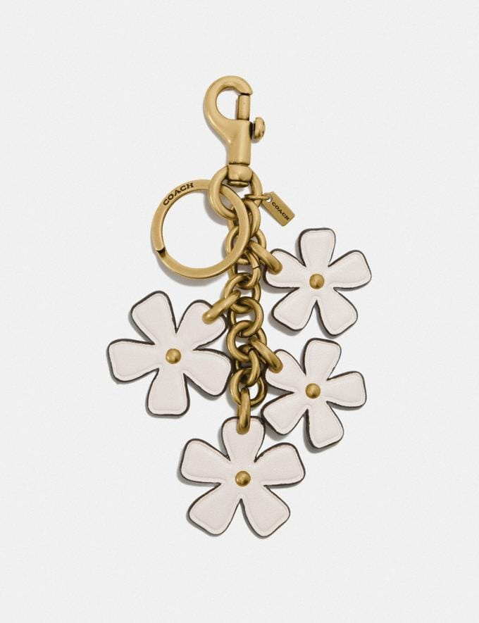 Coach Multi Floral Bag Charm Brass/Chalk Gifts For Her Under $300