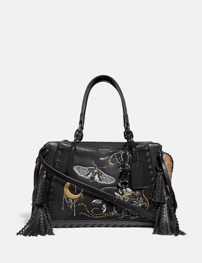 Coach Dreamer in Signature Canvas With Tattoo Tan Black/Black Copper Women Bags Satchels & Carryalls