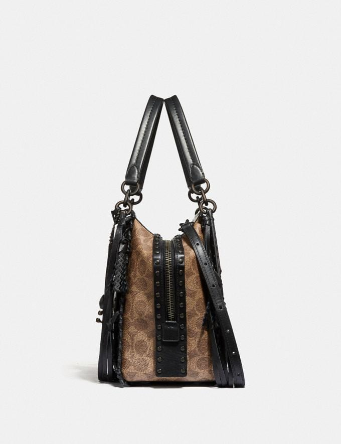 Coach Dreamer 36 in Signature Canvas With Tattoo Tan Black/Black Copper Women Bags Satchels Alternate View 1