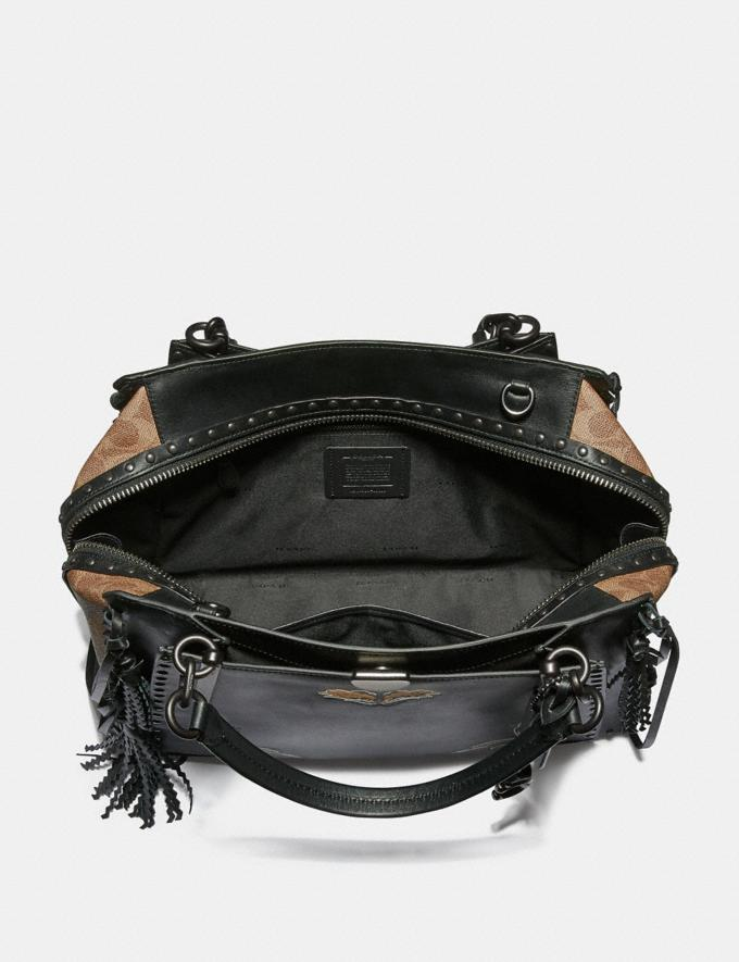 Coach Dreamer 36 in Signature Canvas With Tattoo Tan Black/Black Copper Women Bags Satchels Alternate View 2