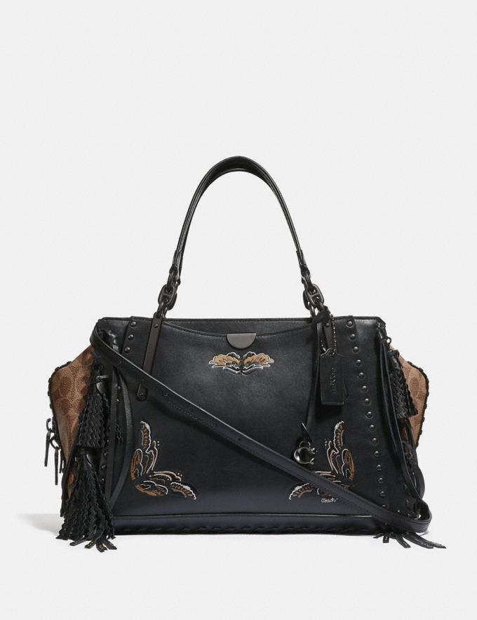 Coach Dreamer 36 in Signature Canvas With Tattoo Tan Black/Black Copper Women Bags Satchels