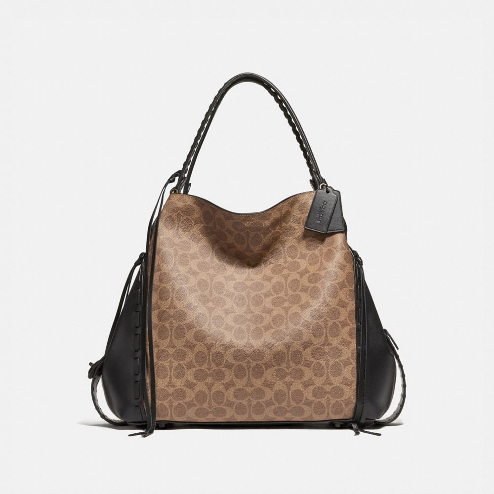 Coach Edie Shoulder Bag 42 in Signature Canvas With Whipstitch