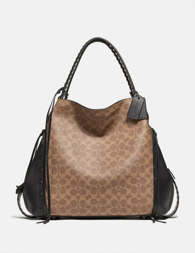 Coach Edie Shoulder Bag 42 in Signature Canvas With Whipstitch Tan Black/Black Copper New Featured Online-Only