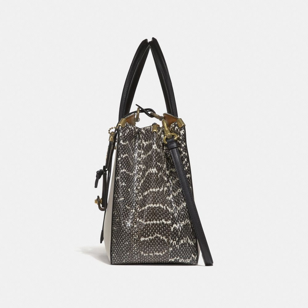 Coach Cooper Carryall in Colorblock With Genuine Snakeskin Detail Alternate View 1