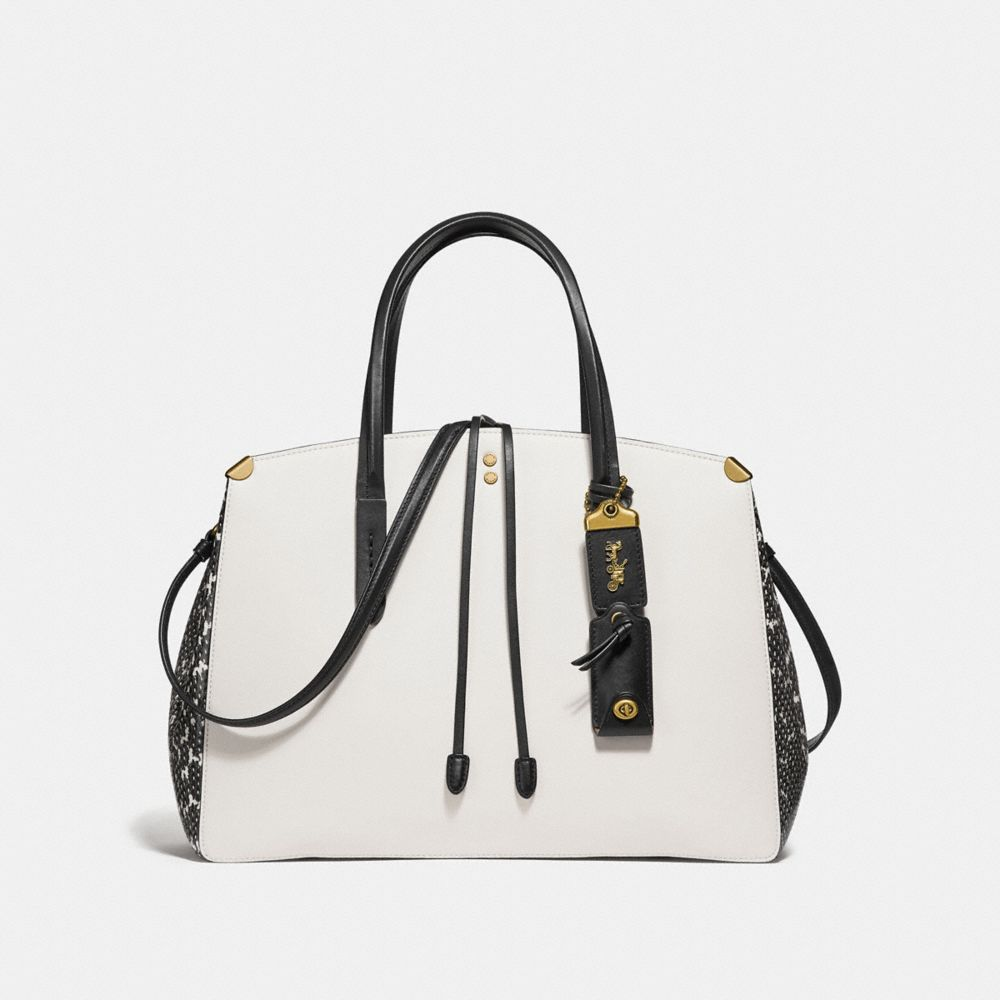 cooper carryall in colorblock with genuine snakeskin detail
