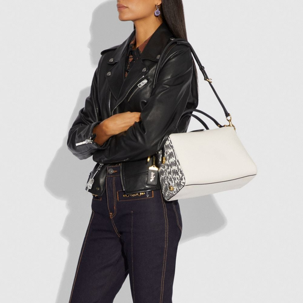Coach Laural Frame Bag in Colorblock With Snakeskin Detail Alternate View 3