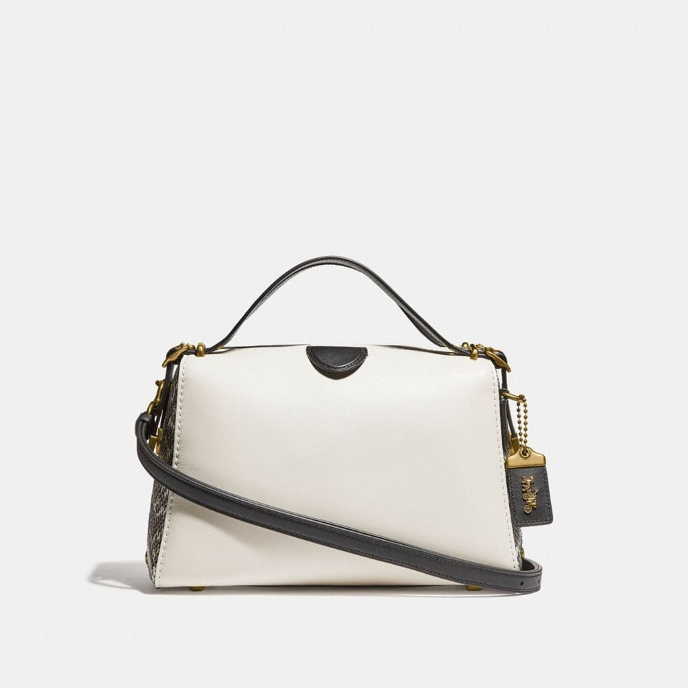 LAURAL FRAME BAG IN COLORBLOCK WITH SNAKESKIN DETAIL