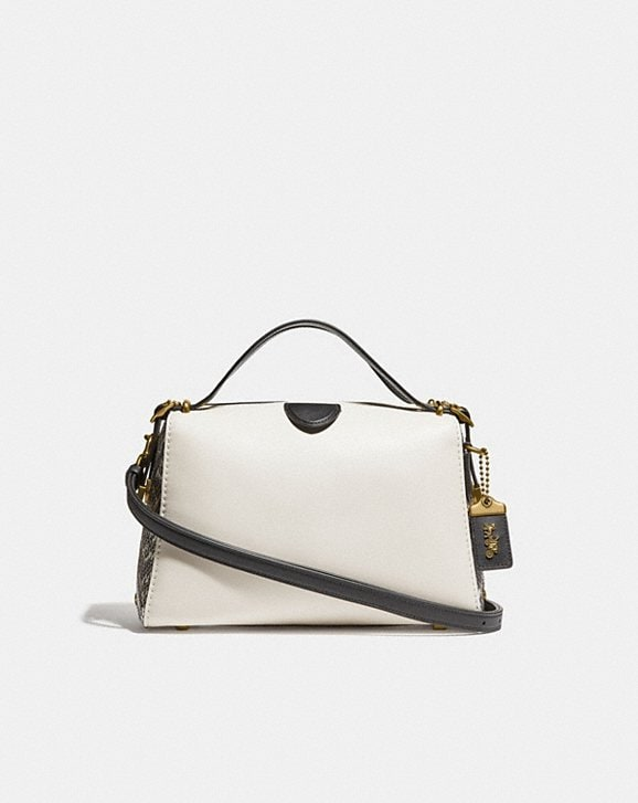 COACH: Laural Frame Bag in Colorblock With Snakeskin Detail