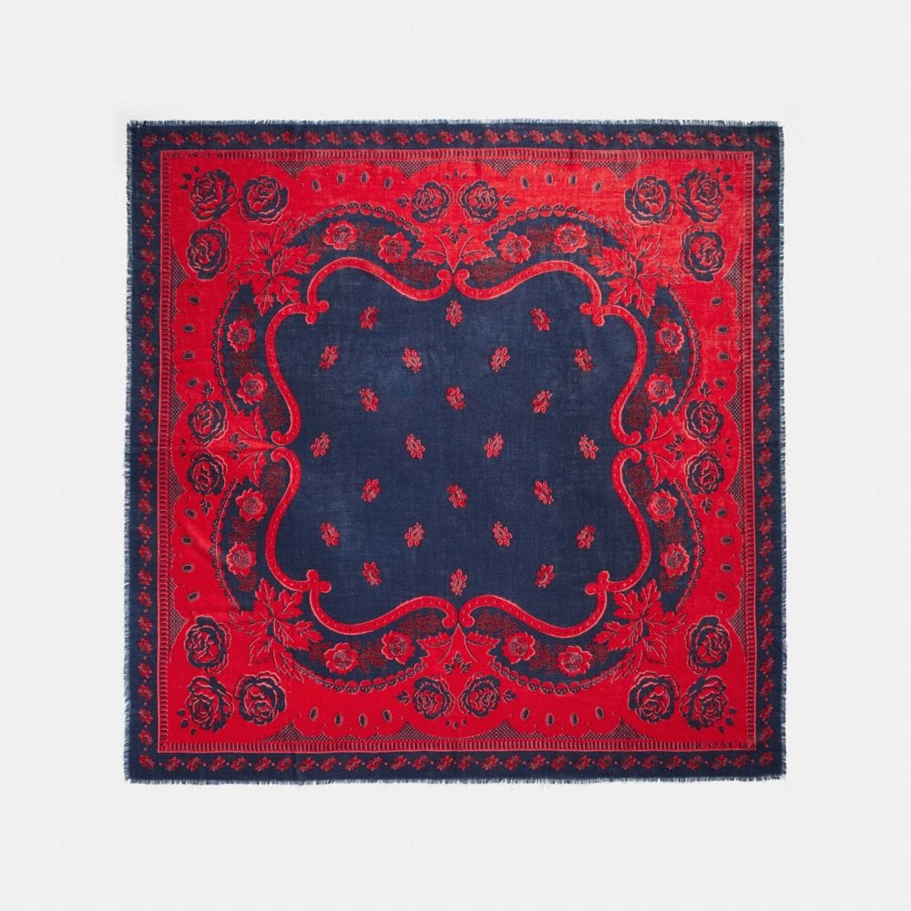 Coach Western Rose Bandana Oversized Square