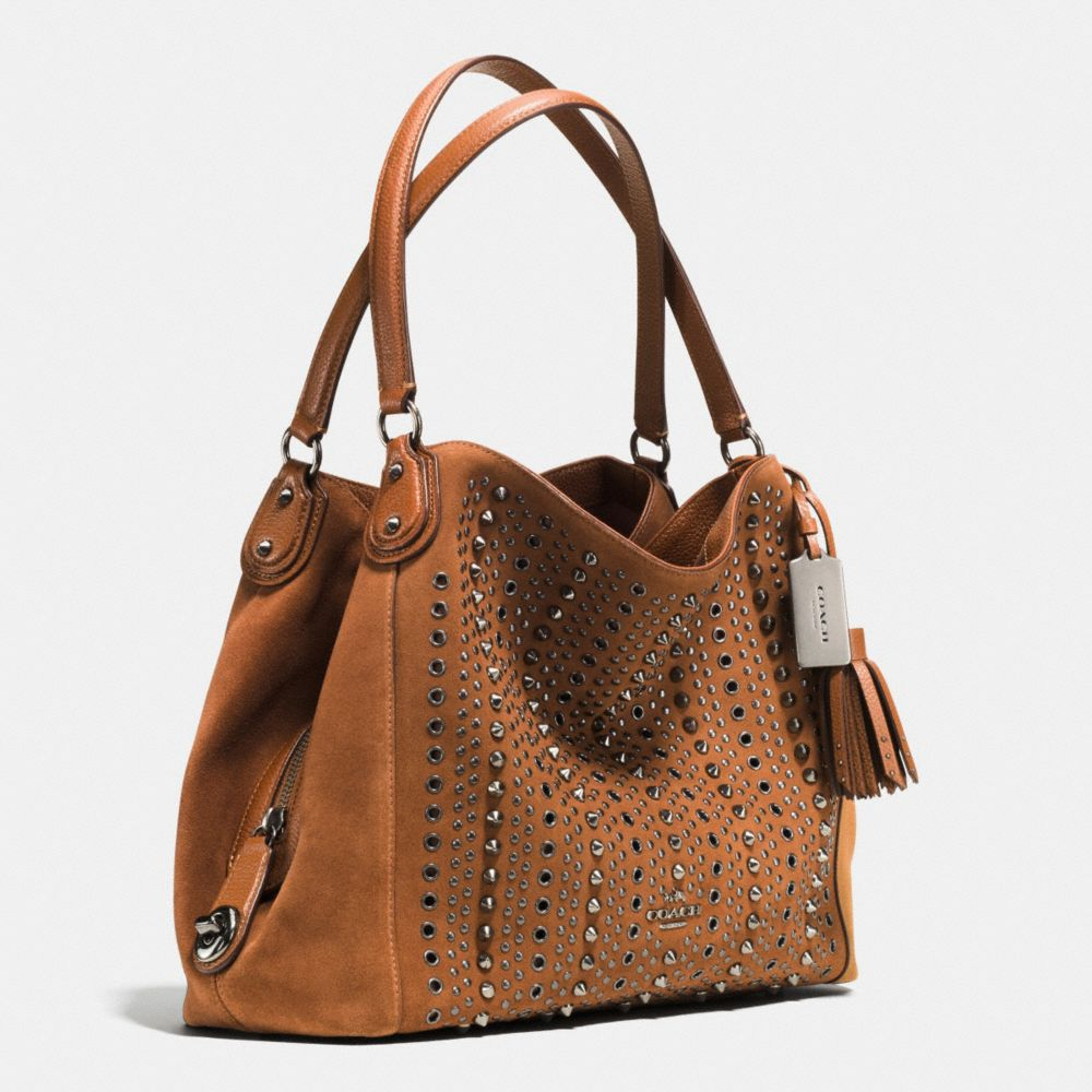 All Over Studs and Grommets Edie Shoulder Bag 31 in Suede - Alternate View A2