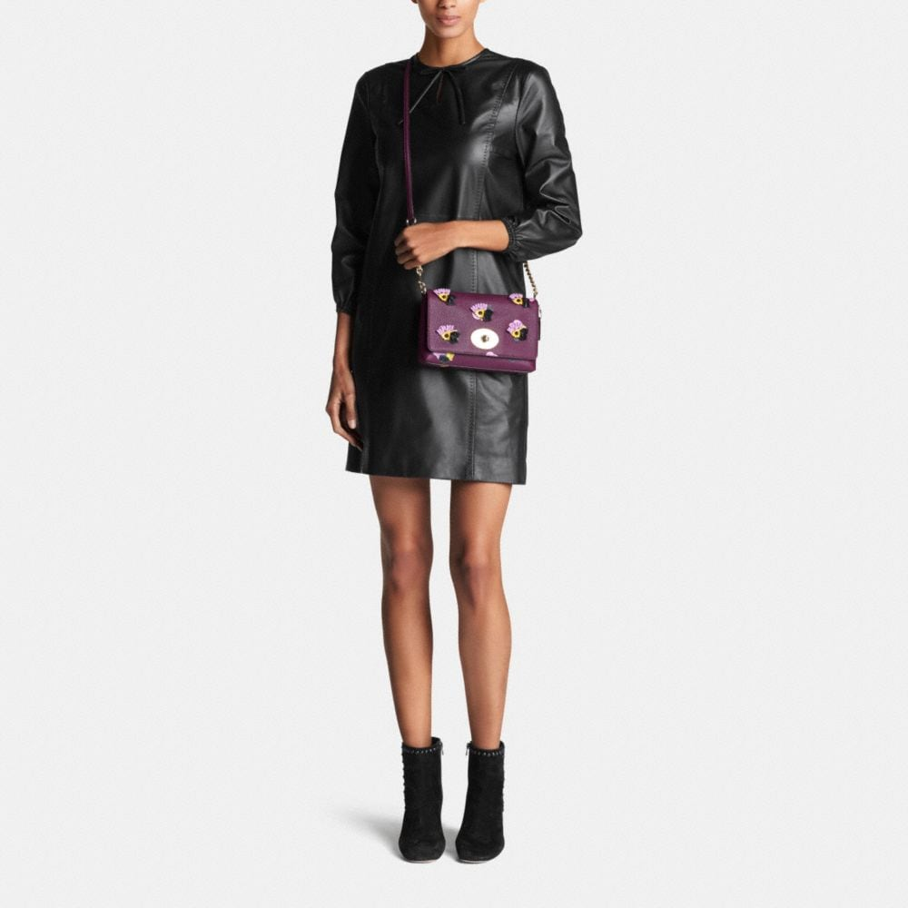 CROSSTOWN CROSSBODY IN FLORAL APPLIQUE LEATHER - Alternate View M1