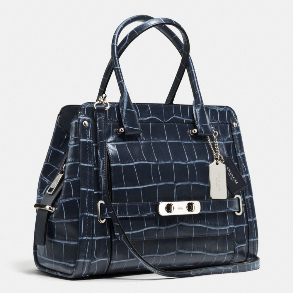 COACH SWAGGER FRAME SATCHEL IN DENIM CROC-EMBOSSED LEATHER - Alternate View A2