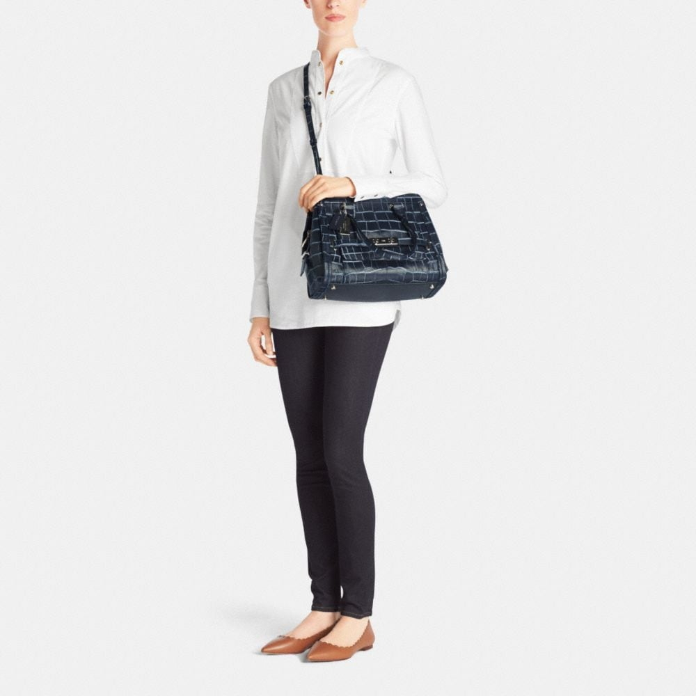 Coach Swagger Frame Satchel in Denim Croc-Embossed Leather - Alternate View M