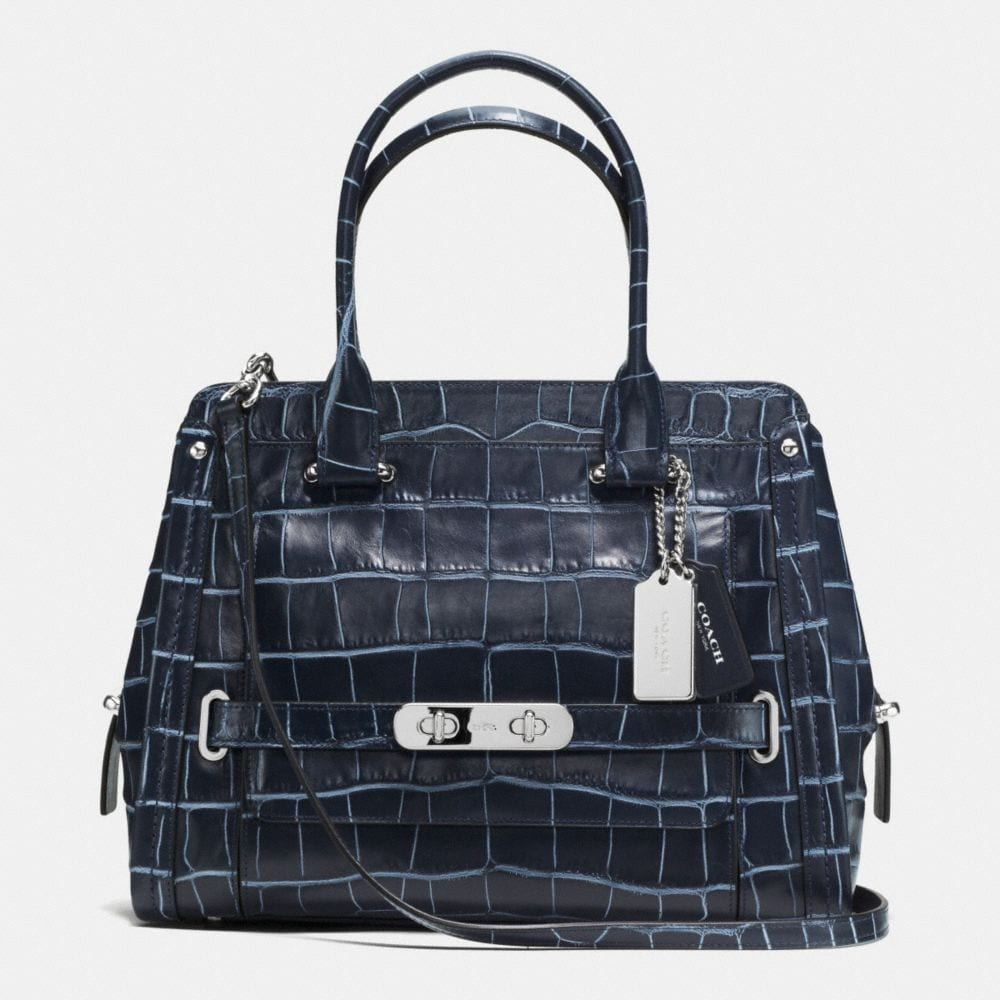 COACH SWAGGER FRAME SATCHEL IN DENIM CROC-EMBOSSED LEATHER