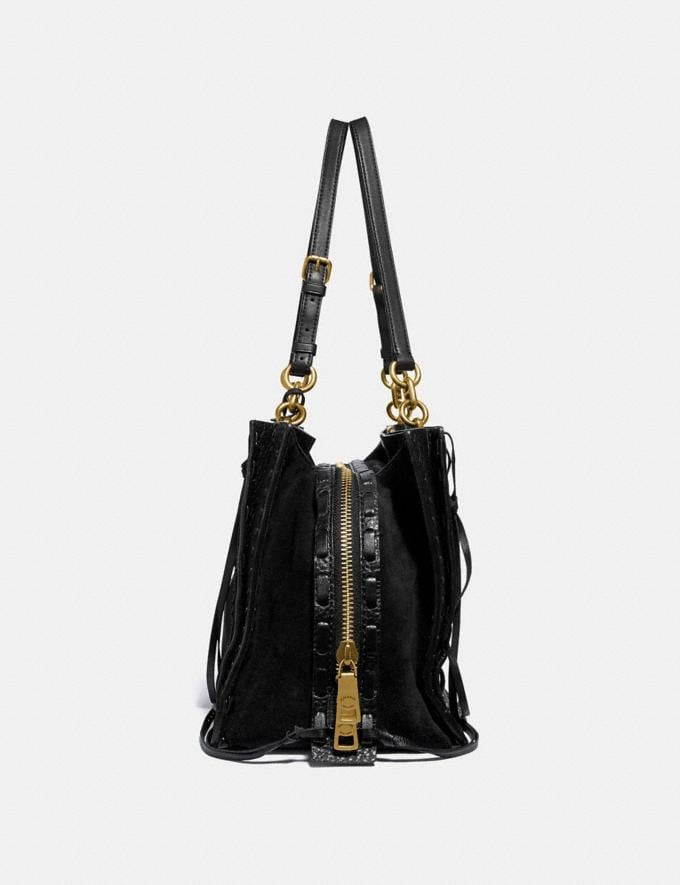 Coach Dreamer Tote 34 With Whipstitch Black/Brass Customization Personalize It Monogram for Her Alternate View 1