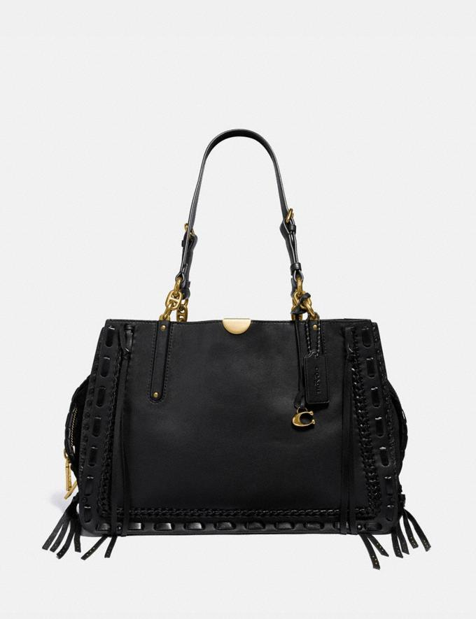 Coach Dreamer Tote 34 With Whipstitch Black/Brass Women Bags Satchels & Carryalls