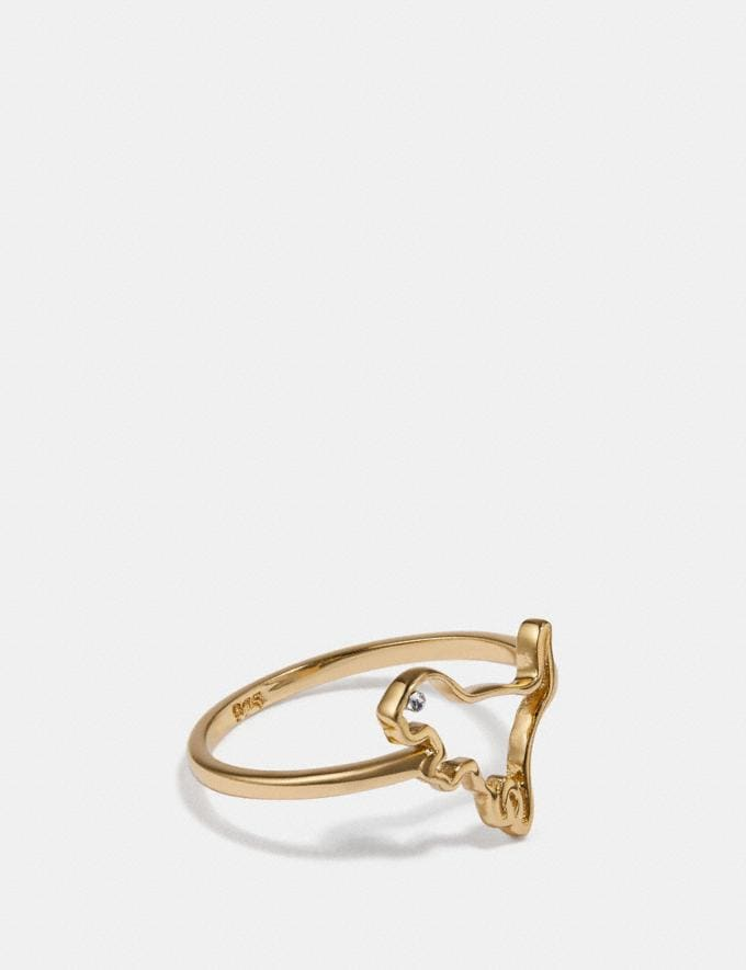 Coach Demi-Fine Cutout Rexy Ring Gold Women Accessories Jewelry Rings