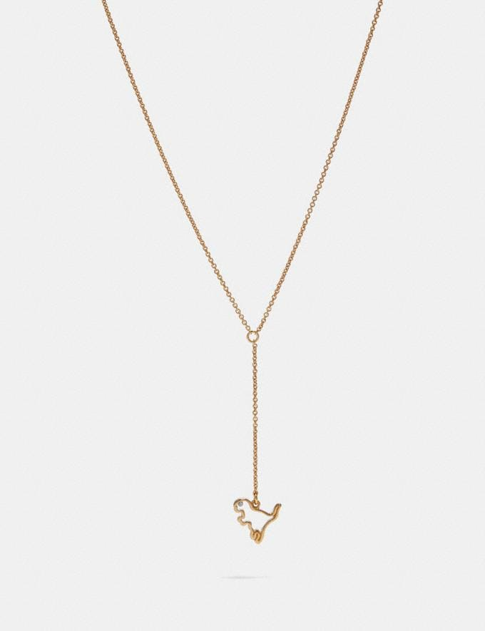 Coach Demi-Fine Cutout Rexy Lariat Gold Gifts For Her
