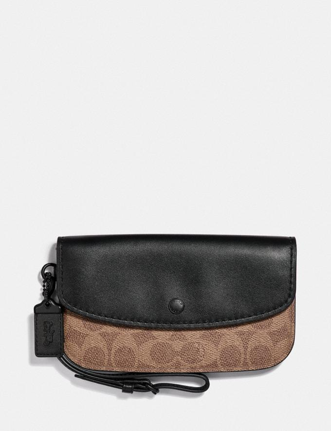 Coach Clutch in Colorblock Signature Canvas Tan Black/Black Copper Women Small Leather Goods Wristlets