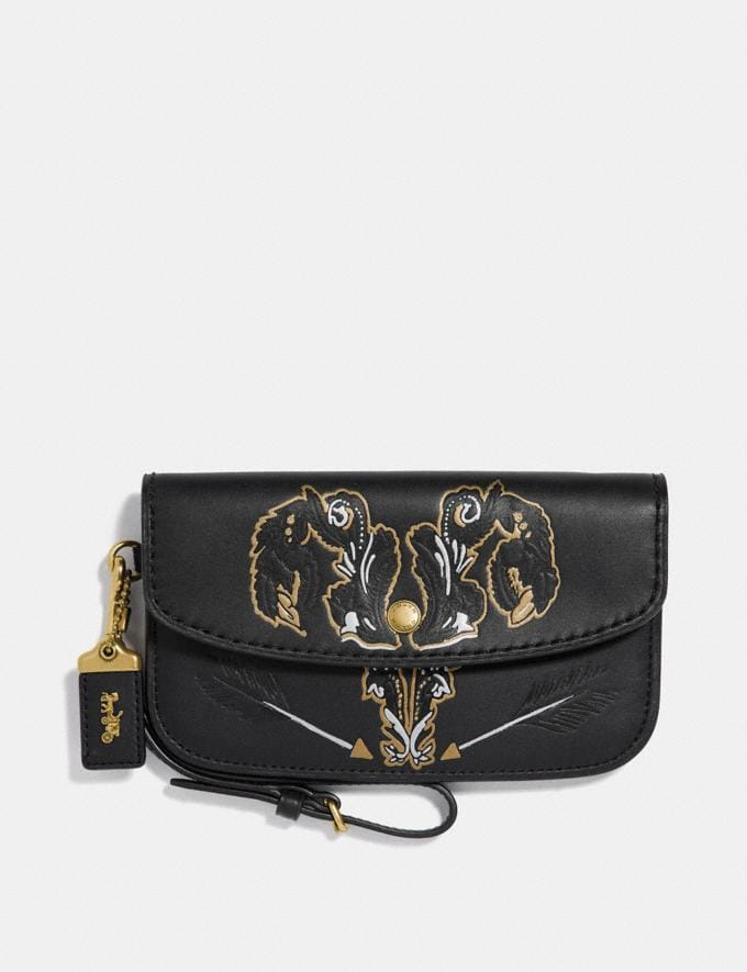 Coach Clutch With Tattoo Black/Brass New Featured Online-Only