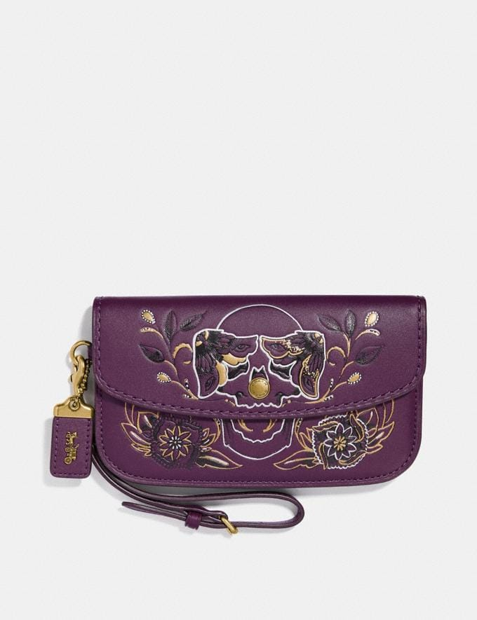 Coach Clutch With Tattoo Plum/Brass Women Bags View All